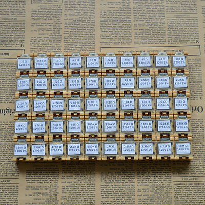 50 value 1206 SMD assorted Resistor Kit in Box (0R~10MR)5000PCS 0.25W 1%,RoHS