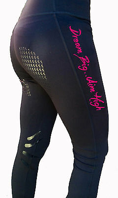 **heels Down Clothing** Riding Performance Tights* Dream Big...aim High Print..