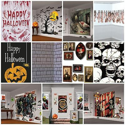 Halloween Party Scene Setter Decoration Gothic Spooky Haunted Graveyard Wall Kit