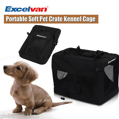 Portable Dog Pet Crate Fabric Soft Carrier Kennel Puppy Travel Cage Bag M Black