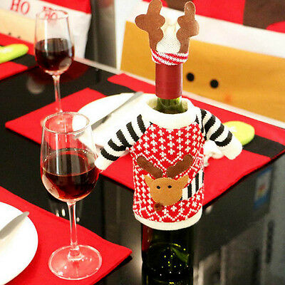 Christmas Knitted Reindeer Sweater Hat Wine Bottle Topper Wrap Table Cover Deco