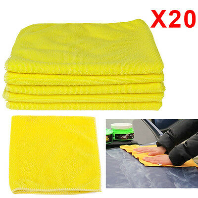 20x Large Microfibre Cleaning Auto Car Detailing Cloths Wash Towel Duster Yellow