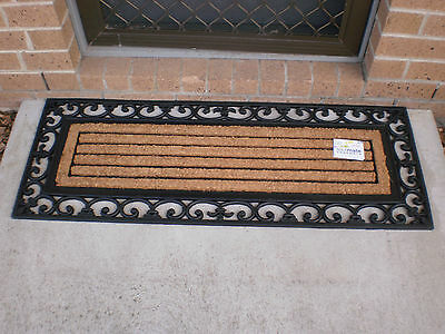 Ribbed Ornate Wide Natural Coir & Rubber Door Mat