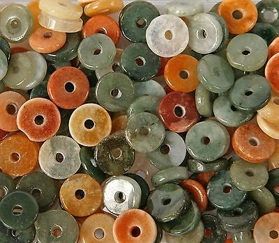Pack of 25 Button shaped Jade Beads for Jewellery Making (B50L)