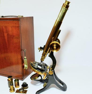 Extremely fine very large antique Victorian microscope by HENRY CROUCH of London