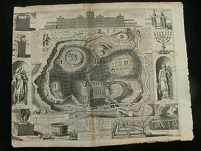 Jerusalem 1689 Original Engraved Map by Richard Blome
