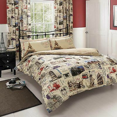 World Post Double Duvet Cover Quilt Bedding Set - Postcard Mail Map Globe
