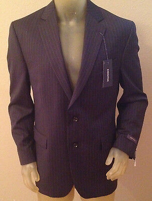 NWT $260 Stafford Executive Classic Fit Navy Stripe Suit Jacket Mens 46R