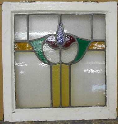 "OLD ENGLISH LEADED STAINED GLASS WINDOW Stunning Floral 20"" x 20.75"""
