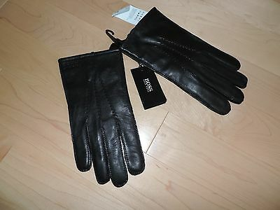 Hugo Boss Black Leather Gloves M L XL 9 9.5 10 Warm Lined GR-Haindt