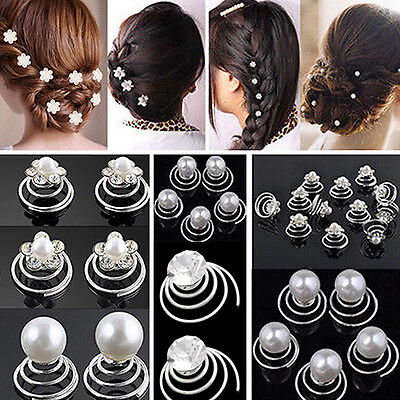 12x Wedding Bridal Hair Pins RhinestoneCoil Flower Swirl Hairpins  3 Styles