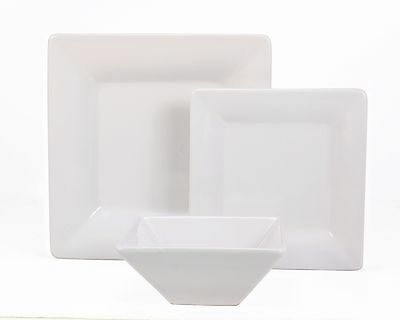 24 Pc White Square Stoneware Dinner Set - SPECIAL OFFER