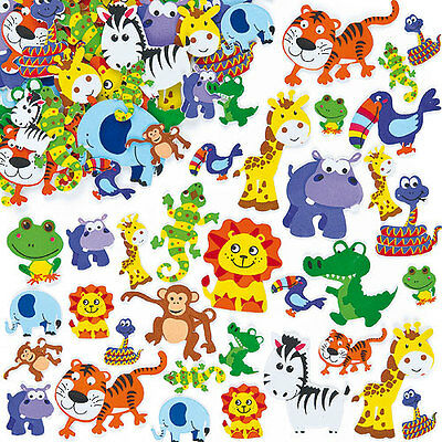 Jungle Animal Foam Stickers for Kid's Crafts & Card Making Projects (Pack of 96)
