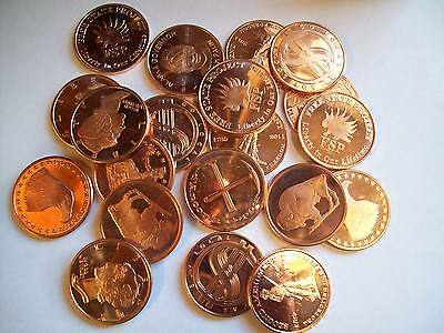 20-1 Oz Copper Coins *scratched Assortment .999 Copper Rounds Bullion 1-5-10-100