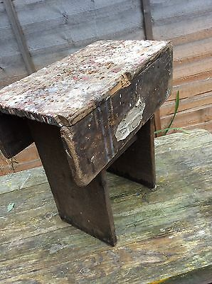 Unique Vintage Wooden Stool Step up Industrial Salvage Primitive Rustic Rare