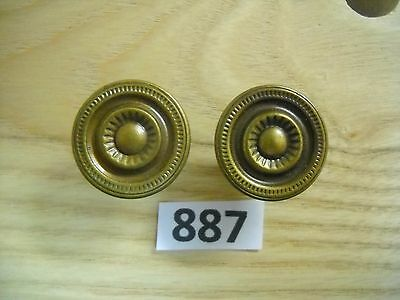 Pair Brass Knob Drawer Pulls
