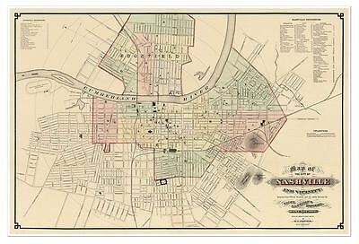 "City of Nashville, Tennessee & vicinity MAP circa 1877 - 24"" x 36"" USA Print"