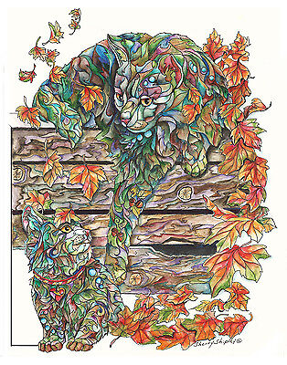 Fall Cat  8X10  CAT Print from Artist Sherry Shipley
