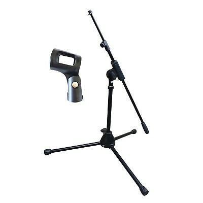 Artist MS010 Small Black Mic Stand with Short Telescopic Boom + Clip - New