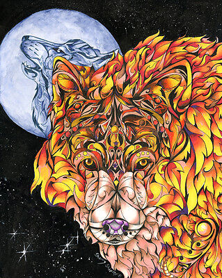 NIGHT FIRE WOLF 8X10 Print from Artist Sherry Shipley