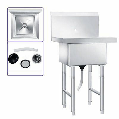 "One Compartment Commercial Stainless Steel Kitchen Utility Sink - 23.5"" Wide"