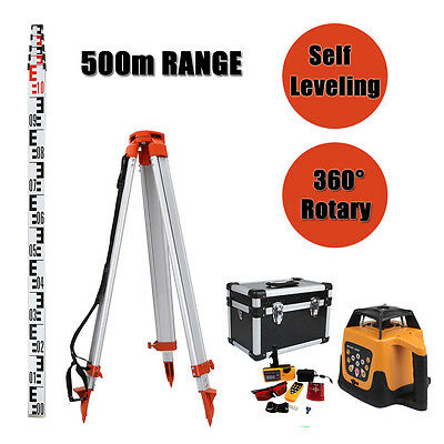 Red Totally Auto-controlled Rotary Laser Level Goggle With 1.65M Tripod 5M Staff