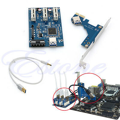 New PCI-e Express 1X to 3 Port 1X Switch Multiplier HUB Riser Card +USB Cable
