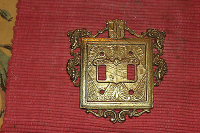Vintage Brass Metal Victorian Style Switch Plate Cover For 2 Light Switches-1954