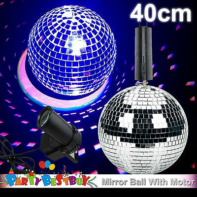 40cm Disco Mirror Ball Light Spin Motor Set 3 Colour Spot Stage Lights Party Dec