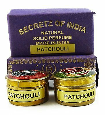 Natural Patchouli Fragrance Solid Perfume Body Musk Natural Mini Brass Jar  4 gm