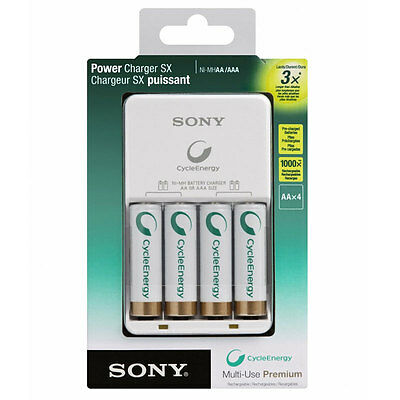 Sony Power Charger with 4 AA 2100 mAh Multi-Use Rechargable Premium Battery New