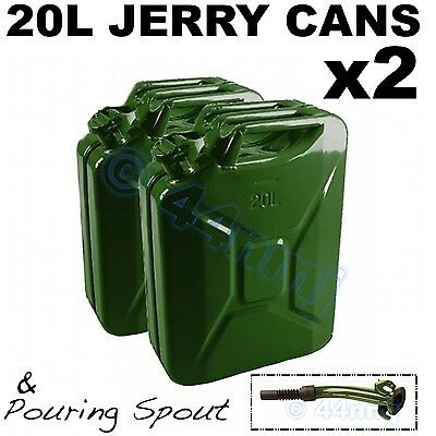 NEW mod 20 litre lt JERRY CAN 20lt x 2 & FREE Spout - Petrol or Diesel