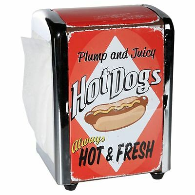 Retro Hot Dog 100 Napkin Tissue Serviette Dispenser Holder Dinner Home Party Bar
