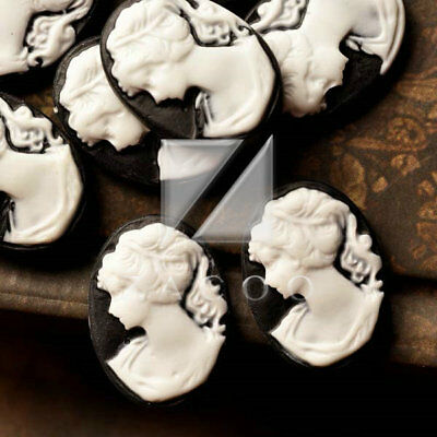12pcs 18x13mm Cameo Resin Cabochons Flatback Oval Lady Portrait Black RB0710