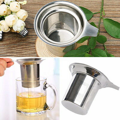 Stainless Steel Tea Infuser Filter Strainer Loose Mesh Sieve Tray Metal Cup Mug