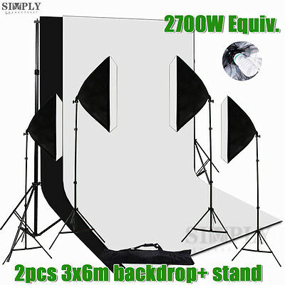 Photography Studio Softbox Soft box Lighting Light Stand Muslin Backdrop Kit Set