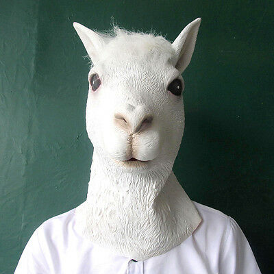 Pretty White Alpaca Latex  Costume Party Latex Mask for Halloween & Christmas