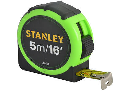 Stanley 5m (16ft) Hi-Viz Tape Measure, Shock Resistant + Belt Clip, 074136