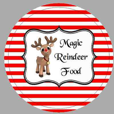 24 x 40mm Stickers Round Christmas Magic Reindeer Food Red Stripe Labels