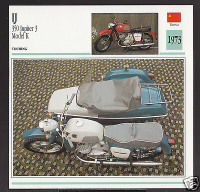 1973 IJ I.J. 350cc Jupiter 3 Model K with Sidecar Russia Motorcycle Photo Card