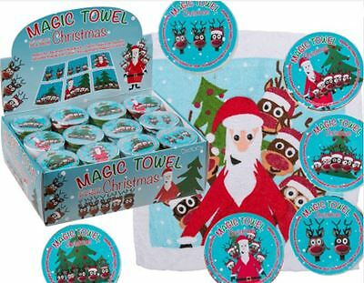 Assorted Design Magic Cotton Towel Santa Reindeer Flannel Bath Gift Christmas