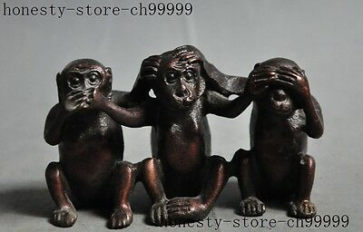 chinese fengshui bronze copper Cute Naughty zodiac three monkeys animal statue