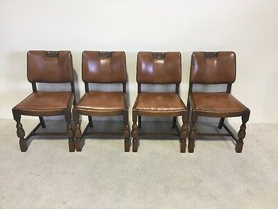 Set Of 4 Art Deco Leather Seated Dining Chairs Very Rare Shape Must Be Seen