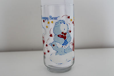 Vintage CARE BEARS Grumpy Bear DRINKING GLASS ** 1984 Canada FRENCH / ENGLISH