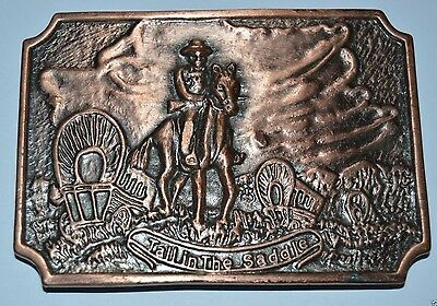 """Vintage """"Tall in the Saddle"""" Western Cowboy Minty Brass Tone Belt Buckle RARE"""
