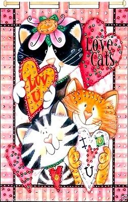 """Design Works Jeweled Beads Kit 16"""" x 24"""" ~ LOVE CATS Banner Sale #9533"""