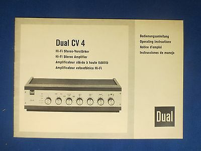 Dual Cv4 Integrated Amplifier Owners Manual Original Factory Issue