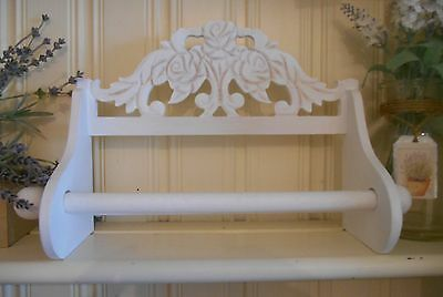 Wooden Kitchen Roll Holder Shabby Vintage Chic Paper Storage Wall Mounted Carved