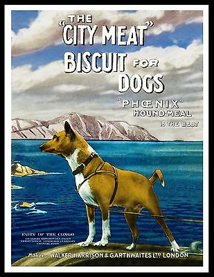 Basenji Dog Looking Out To Sea Great Vintage Style Dog Food Advert Print Poster