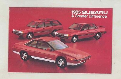 1985 Subaru 4WD XT Coupe Sedan Hatchback Brochure my6471